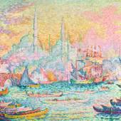 Lot 21 Property from an Illustrious Private Collection Paul Signac La Corne D'or (Constantinople) Signed P. Signac and dated 1907 (lower left) Oil on canvas 35 1/8 by 45 3/4 in. 89.2 by 116.3 cm Painted in 1907.  Estimate $14/18 million Sold for $16,210,000