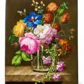 Signiertes Porzellanbild mit Blumenvase Weißporzellan Wien, Kaiserliche Manufaktur unter Matthias Niedermayer, 1809, Bemalung Joseph Fischer, 1821. Schätzpreis:20.000 - 30.000 EUR Zuschlagspreis:33.000 EUR
