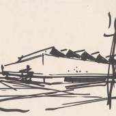 Werner Düttmann, Skizze der Akademie der Künste, Filzstift auf Papier, Akademie der Künste, Berlin, Werner-Düttmann-Archiv, Nr. 443 Bl. 12/2 © Katharina Merz und Hans Düttmann