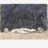 Tormann nach dem 11Meter 1980, Mischtechnik auf Papier, 40 x 30 cm