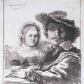 Rembrandt Harmenszoon van Rijn  (Leiden 1606 - Amsterdam 1669) Selbstportrait mit Saskia. 10.000 Euro