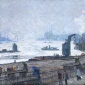 Paul Kayser  (Hamburg 1869 - Donaueschingen 1942) Treibeis auf der Elbe. 12.000 Euro
