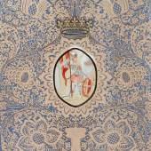 olothurner Papierspitzenbild. Mittig Gouache mit Darstellung des Hl. Mauritius (Moritz), Ausrufpreis:2800 Euro