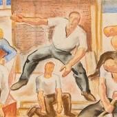 Karl Hauk Arbeiterschaft 1928 Pastell auf Papier 24,2 x 65,6 cm Studie für Linzer Arbeiterkammer