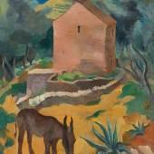 Karl Hauk Das kleine Eselchen 1930 Öl auf Karton 80 x 60 cm