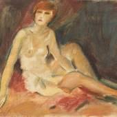 Karl Hauk Frau im Negligé 1926 Pastell auf Papier monogrammiert und datiert HK 26 47,2 x 60,3 cm