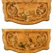 PAAR BEDEUTENDE INTARSIERTE KOMMODEN AUS DER WERKSTATT VON JOHANN FRIEDRICH SPINDLER  Rokoko, Potsdam um 1765. 134 × 66 × 82,5 cm.  Ergebnis: CHF 220 000