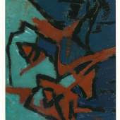 Mela Spira, Monoprint, 1964,  Öl/graues Papier, Neue Galerie Graz