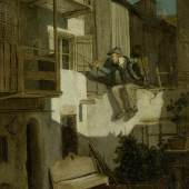 A162/3216 CARL SPITZWEG (1808 München 1885) Ständchen im Mondschein. Öl auf Leinwand. Unten rechts signiert und datiert: S im Rhombus 1840. 32,4x26,2 cm.  CHF 30 000 / 40 000