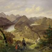 Lorenzo Quaglio: Blick auf Schloss Hohenschwangau; Gemälde, 1856 Foto: Roland Handrick ©  Stiftung Preußische Schlösser und Gärten