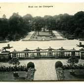 Blick von der Orangerieterrasse im Park Sanssouci auf die Panther, Postkarte, 1916 Foto: SPSG