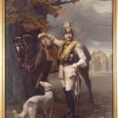 Philip de László, Kaiser Wilhelm II., im Hintergrund die Communs, 1911, SPSG (durch Schnittverletzungen 1918 beschädigt) © SPSG / Foto: Wolfgang Pfauder
