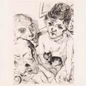 Max Beckmann (1884–1950)  Der Abend (Selbstbildnis mit den Battenbergs), 1916 Blatt: 299 × 246 mm Kaltnadelradierung auf Vergépapier Städel Museum, Frankfurt am Main Foto: Städel Museum
