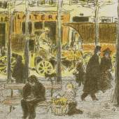 """Pierre Bonnard (1867–1947) Boulevard (Blatt 5 der Folge """"Quelques aspects de la vie de Paris""""), 1895 Lithografie in vier Farben, 17 x 43 cm Städel Museum, Frankfurt am Main © VG Bild-Kunst, Bonn 2017 Foto: Städel Museum – ARTOTHEK"""