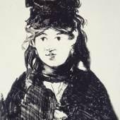 Édouard Manet (1832–1883) Berthe Morisot. Première planche, 1872 Kreidelithografie auf Chine collé, 20,4 x 14,1 cm Städel Museum, Frankfurt am Main Foto: Städel Museum – ARTOTHEK