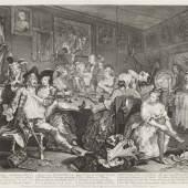 William Hogarth (1697-1764)  Der Weg eines Liederlichen, Blatt 3 (Tom Rakewell verschwendet sein Geld), 1735 Radierung und Kupferstich, 35,6 x 40,8 cm Städel Museum, Frankfurt am Main Foto: Städel Museum – ARTHOTHEK