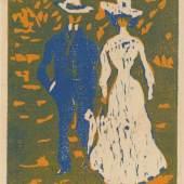 Ernst Ludwig Kirchner (1880–1938) Spazierengehendes Paar, 1907 Farbholzschnitt von zwei Stöcken auf Vergépapier 280 × 215 mm (Druckstock) Städel Museum, Frankfurt am Main Foto: Städel Museum
