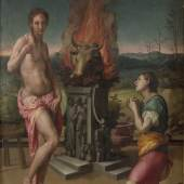Agnolo Bronzino (1503–1572) (und Jacopo Pontormo? (1494 – 1557)) Pygmalion und Galatea, um 1530 Öl auf Holz, 81,2 x 60 cm Galleria degli Uffizi, Florenz