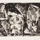 Abbildung: Pablo Picasso, Minotaure aveugle guidé par une Filette dans la Nuit / Der blinde Minotaurus von einem Mädchen durch die Nacht geführt, 1934, © VG Bild-Kunst, Bonn 2019