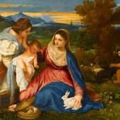 + MEHR Tizian, Madonna mit Kind, der heiligen Katharina sowie einem Hirten (Die Madonna mit dem Kaninchen) (um 1530)
