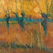 Vincent van Gogh (1853–1890) Weiden bei Sonnenuntergang, 1888 Öl auf Leinwand auf Karton, 31,6 cm x 34,3 cm © Kröller-Müller Museum, Otterlo, Niederlande