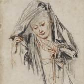 Antoine Watteau, (1684-1721) Brustbild einer niederblickenden jungen Frau, die den Stoff ihrer Mantille anhebt, um 1717
