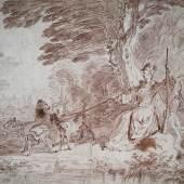 Antoine Watteau, (1684-1721), Jagdpartie. Jäger und Jägerin mit vier Hunden in einer Landschaft, um 1713