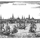 Stadtansicht von Amsterdam Claes Jansz. Visscher 17. Jahrhundert 13 x 21,5 cm © Leiden, Universitätsbibliothek