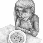 Stefan Zsaitsits, Meine Suppe, Bleistift auf Papier, 70 x 50 cm, 2016