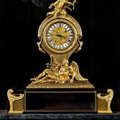 STEINITZ, Huge cartonnier clock André-Charles Boulle (Paris, 1642-1732) & Claude III Martinot, clockmaker Tortoiseshell and brass marquetry, ebony, gilt bronze, enamel and metal Paris, 1723