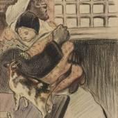 A164 / 3510 THEOPHILE ALEXANDRE STEINLEN (Lausanne 1859-1923 Paris) Dans la cuisine. Aquarell über schwarzer Kreide. 31x19 cm.  CHF 4 000 / 6 000