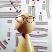 Curt Stenvert  Wissenschaftlicher Selbstversuch, Opus 47, 1962  Öl auf Holz, Glas, Metall, Kunststoff  40 x 17 x 17 cm  Privatbesitz © VBK, Wien 2011, Foto: Archiv des Belvedere, Wien