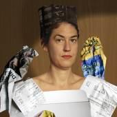 """Stephanie Guse: Willhaben: KAHLO, (nach Frida Kahlo """"Mi y mis pericos"""", 1941), Portrait der Forscherin Annika Guse, 82 x 62 cm, 2019"""