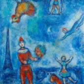 Stern Pissarro Gallery, Marc Chagall (1887-1985) Le Cirque dans le Ciel Bleu de Paris. Oil on canvas, 100 x 73 cm . Signed lower left 'CHAGALL' and also on the back. Executed circa 1978-81