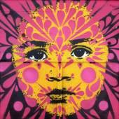 Stinkfish, Berkeley Girl, 2018, spray paint/wood object, 82,5x83,5x13,5 cm