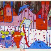 """Friedensreich Hundertwasser (1928 - 2000) """"Gespräch im Blutregen"""" Japanischer Holzschnitt in 18 Farben handsigniert, datiert u. bezeichnet: Dunkelbunt 14.Juli 1997 – Wien. Auflage: 3/205 Werknummer: 942A, 37 x 45 cm  Zur Verfügung gestellt von: Kunsthandel Stock"""