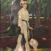 Edward Cucuel (San Francisco 1875 - 1954 Pasadena) Dame im Park Öl auf Leinwand, signiert  55 x 45 cm  Zur Verfügung gestellt von: Kunsthandel Strassner