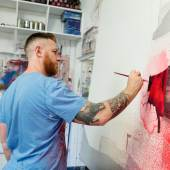 Street Artist Conor Harrington at Work in studio
