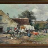 """Stuhlmüller, Karl, 1859 - 1930 München Öl/Lwd, 35 x 57 cm, """" Rast vor dem Gasthof """" Mindestpreis:1.700 EUR"""
