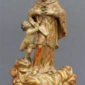 """Süddeutsch, um 1700 Holz, geschnitzt, """"Hl. Johannes Nepomuk mit einem Engel"""", gefasst, Sammlerstück, h 34 cm, Mindestpreis:600 EUR"""