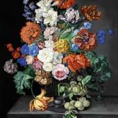 "Sebastian Wegmayr ""Blumen mit Ringlotten"", 1857, bei Galerie Szaal"