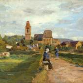 Tina Blau (Wien 1845 – 1916 Wien) Blick auf Perchtoldsdorf Öl auf Holz signiert, bezeichnet und datiert 1895 17,8 x 26,8 cm  Zur Verfügung gestellt von: Galerie Szaal