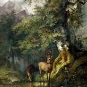 """Friedrich Gauermann (1807 – 1862)  """"Waldlandschaft mit zwei Rehen an der Tränke"""", Öl auf Holz, WVZ-Nr. 146 1833, 59,5 x 45,8 cm"""