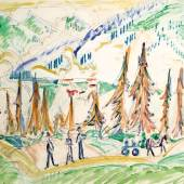 "Ernst Ludwig Kirchner,  1880 – 1938,  ""Davos"" Aquarell auf Papier, signiert,  38 x 49,5 cm Foto: © Galerie Szaal"