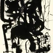 """Hans Staudacher geb. 1923 St. Urban """"Ohne Titel"""" Kunstharz auf Papier signiert und datiert (19)55, 62,5 x 45 cm"""
