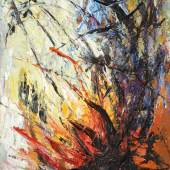 "Soshana (geb. 1927 Wien) ""Feuer III."" Öl auf Leinwand signiert, 1954, 74 x 60 cm"