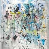 """Hans Staudacher (1923 – 2021)  """"Gedankenspiel"""" Öl auf Leinwand, signiert und datiert (19)92/93 200 x 170 cm  Foto: © Galerie Szaal"""