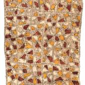 Joss Graham  Painted Nioge/Tapa (bark cloth)  by Nelly Haruko Keme Depicting the design of her great grandfather's tattoo in initiation rites. Omie people, Papua New Guinea 117 x 58 cm