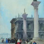KAREN TAYLOR FINE ART, William Callow, R.W.S. (1812-1908)  The Piazzetta, Venice, 1870  watercolour over pencil with scratching out  37 x 27 cm; 14 ½ x 10 ⅝ inches