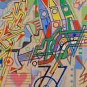 Dietrich Thiel Wien - Rom und zurück 2 1988, Acryl auf Leinwand, 105 x 150 cm